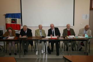 Assemblée Générale 2014 : le Bureau de G. à D; Mme Cadoux, M. Guy Chabrillac, le Cdt Boutin, le Président M. Louis Arnaud, M. Marcel Chartier