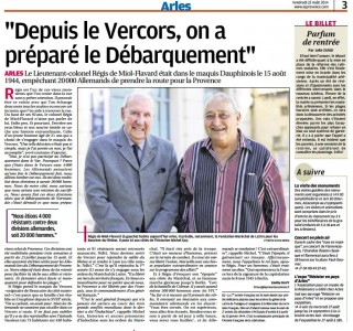 Article paru dans la Provence le 22 août 2014